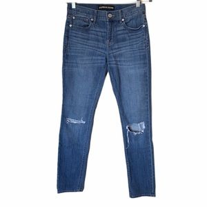 Express distressed super skinny mid rise jeans 4